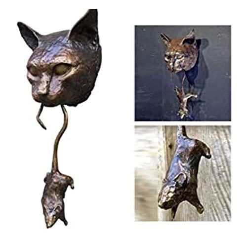 Türklopfer Skulptur,deko skulptur,Katze und Maus,Wandbehang Schild,Skulptur Haustür Dekor Handgefertigte Türknäufe Wandskulpturen für Katzenliebhaber,Ornament Home Decor Garden Decor