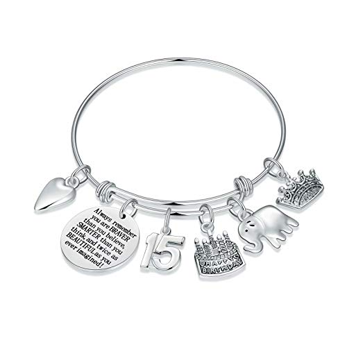 M MOOHAM 15th Birthday Gifts for Her Girls Charm Bracelets, Happy 15 Year Old Girl Gifts for Fifteenth Birthday Daughter Granddaughter Kids Grandchildren Bday Present Birthday Bracelets