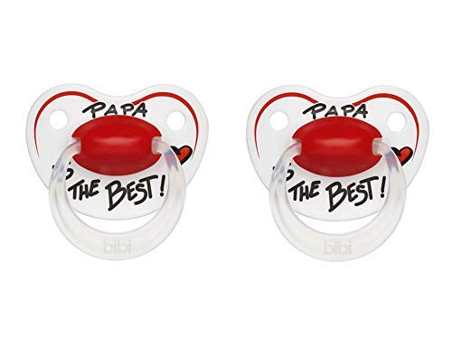 Bibi Happiness Chupete Nuggi - Papa Is The Mejor Dentales 2er Set, 6-16 Meses