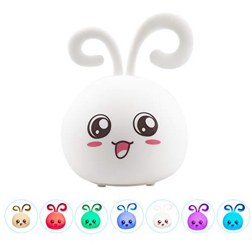 Kids Night Light Niedliche wiederaufladbare USB-Tiersilikonlampen mit Berührungssensor und 7 coolen, farbwechselnden, tragbaren Baby-LED-Pat-Licht-Dekor für Kinder Kleinkinder Mädchenzimmer, Kaninchen