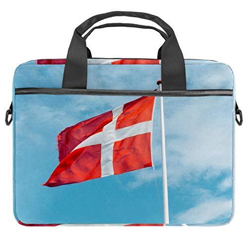 TIZORAX Laptoptasche, dänische Flagge, Notebooktasche mit Griff, 38,1 - 39,1 cm