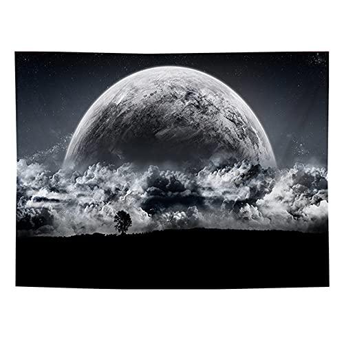 Sol Y Luna Tapiz Colgante De Pared Estrellas Espacio Psicodélico Tapiz De Pared Blanco Y Negro Dormitorio Sala De Estar Dormitorio Decoración 130x150cm(Thicken)(WxH) B
