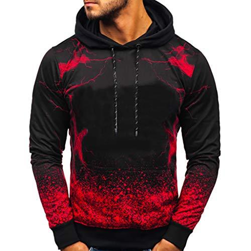 Xmiral Herren Pullover Farbverlauf Kapuzenpullover Slim Fit Pullover Bluse mit Kapuze Moderner Hoodie-Sweatshirt-Pulli Pullover-Shirt(Rot,L)