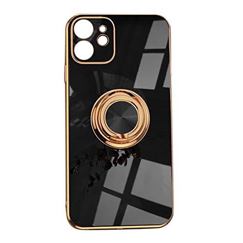 H HILABEE Protección de La Cámara Estuche para Teléfono a Prueba de Golpes para La Carcasa Trasera de Silicona TPU Suave Sólida de La Serie 12 - Negro para iPhone 12