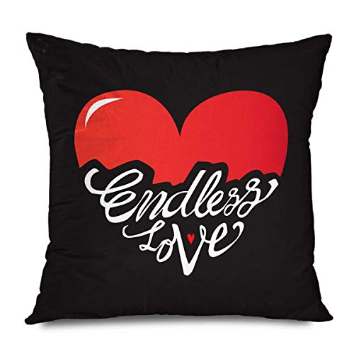 N / A Pillowcase,Throw Cushion Cover,Square Pillow Cover,Pillowslip,Quote Day White Valentine Endless Love Typographic Graphic Greeting Heart Romantic Hipster Letter Square Pillow