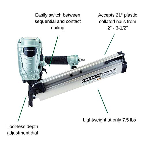 """Metabo HPT Framing Nailer, The Pro Preferred Brand of Pneumatic Nailers, 21° Magazine, Accepts 2"""" to 3-1/2"""" Framing Nails & Super Lube 12004 Air Tool Lubricant, 4 oz Bottle, Translucent Clear"""