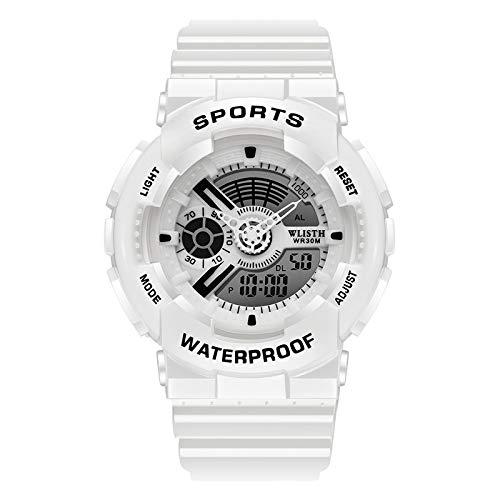 Reloj Deportivo Multifuncional Impermeable con Movimiento De Pantalla Dual Simple Reloj Electrónico Círculo Blanco leucorrea 3#