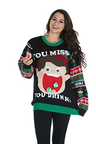UNISEX UGLY CHRISTMAS SWEATER/CHRISTMAS DRINKING GAME (L/XL, BLACK)