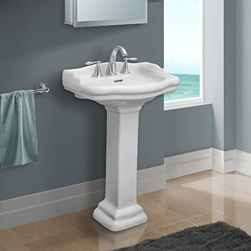 Fine Fixtures, Roosevelt White Pedestal Sink - 18 Inch Vitreous China Ceramic Material (4 Inch Faucet Spread hole)