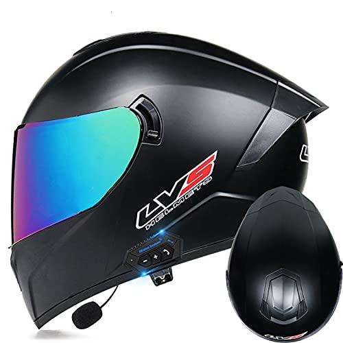 Casco de motocicleta con Bluetooth, abatible hacia arriba, casco integral, adulto hombres, mujer con visera doble, sistema de comunicación integrado, certificación ECE,G,L 59~60cm