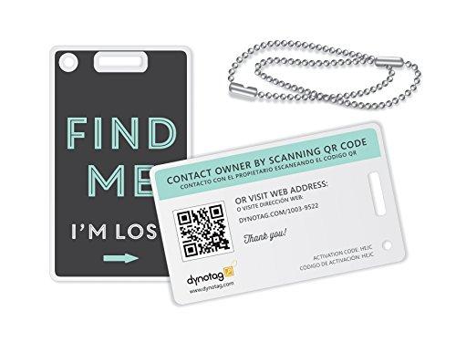 Web dynotag/GPS habilitado QR Smart Fashion etiquetas de equipaje–2idéntico etiquetas + Cadenas