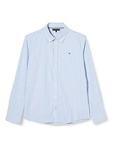 Tommy Hilfiger Jungen Essential Stripe Oxford L/s Hemd, Blau, 80