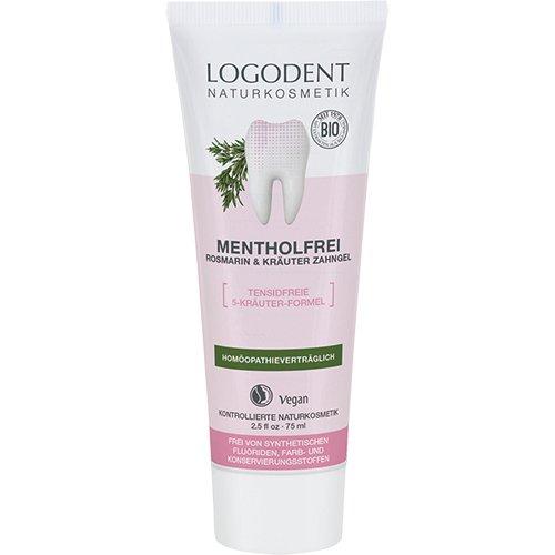 LOGODENT natuurlijke cosmetica mentholvrij rozemarijn tandgel, 5-kruidenformule werkt tegen ontstekingen, verzorgt het tandvlees, vrij van synthetische fluoridetoevoegingen, veganistisch, 3 x 75 ml