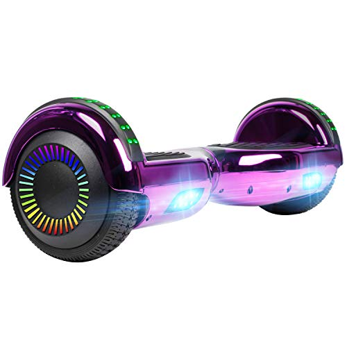 "UNI-SUN Chrome Hoverboard for Kids, 6.5"" Two Wheel Electric Scooter, Self Balancing Hoverboard with Bluetooth and LED Lights for Adults, UL 2272 Certified Hover Board,Bluetooth Purple"