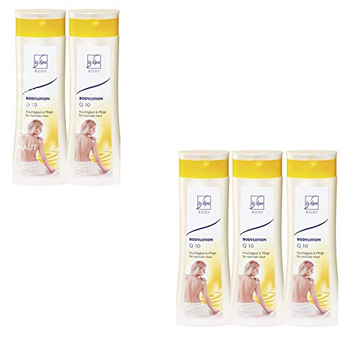 5 x 300 ml Laligne skin care body lotion Q10 moisture and care for normal skin + storage bag from Studio. Munet.