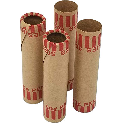 J Mark Burst Resistant Preformed Penny Coin Roll Wrappers, Made in USA, 92-Count Heavy Duty Cartridge-Style Coin Roller Tubes, Includes J Mark Coin Deposit Slip