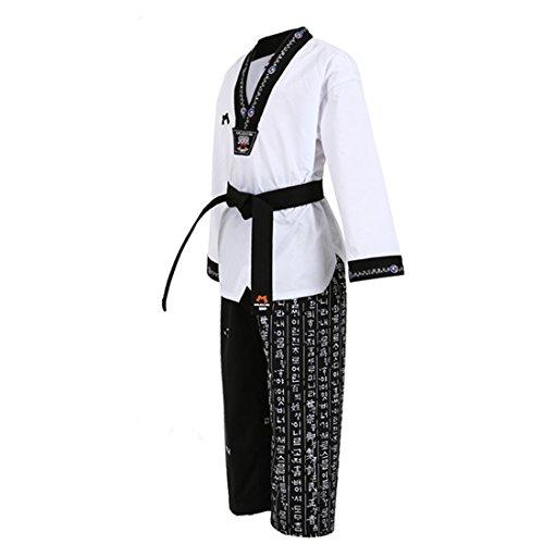 Mudoin Taekwondo Hangul Uniform Schwarz V-Ausschnitt TKD Martial Arts Akido Hapkido WTF POOM, Herren, weiß, 180(170-180cm)(5.57-5.90ft)
