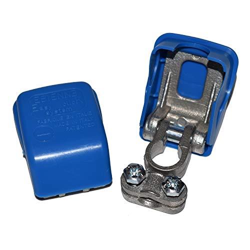 2 Stück Easy Click® Polklemmen für Autobatterie, Fahrzeugbatterie, Batterie Polklemmen, Schnellklemmen, Polklemme mit Schnellverschluss - Batterieklemmen mit Schnellverbinder bis 50 mm² 2 x blau