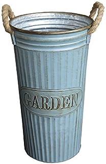 Hogar y Mas Paragüero, Soporte para Paraguas, Alto de Metal Azul, Diseño Redondo Factory Vintage con Asas Garden. 44 x 26 cm.