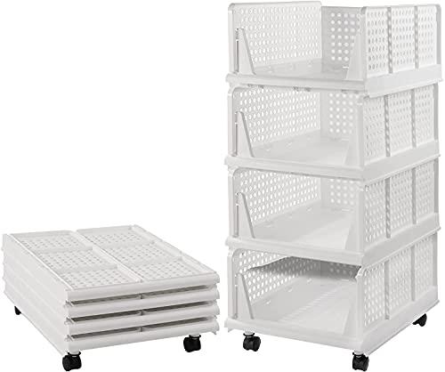 4er Set stapelbarer Kleiderschrank Aufbewahrungsbox Organizer mit Rädern (einfach zu öffnen und zu Falten), Kunststoff Weiß Kleiderschrank Regale Schrank Organizer Box