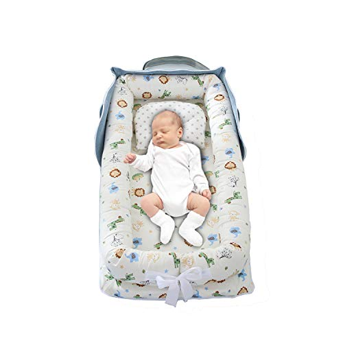 PUDDINGT® Bebe Recien Nacido - Cama Nido De Bebé Recién Nacido, Reductor De Cuna Nidos para Bebes Cojin Cuna De Viaje Portátil, Cuna para Bebé Recién Nacido para 0 A 24 Meses