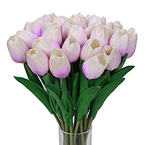 Momkids 20 Pcs Artificial Flowers Tulips Fake Mini PU Real Touch Flower Bouquet Faux Plants Tulip for Hotel Home Living Room Restaurant Wedding Party Event Christmas Decor (Light Purple 12.5 inch)