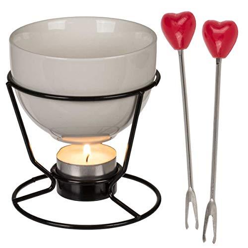 Mini Schokoladen-Fondue Set für 2 Verliebte, aus Steingut und Metall, für Teelicht, Schokoladentopf 200 ml, 2 Herz-Fonduegabeln, 10cm hoch, Geschenk zum Valentinstag, Hochzeitstag etc.