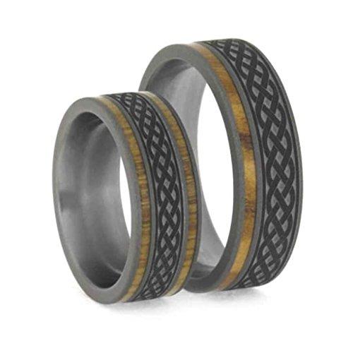 Celtic Knot Oak Titanium Band and Olive Wood Comfort-Fit Sandblasted Titanium Couples Wedding Rings Size, M14.5-F7.5