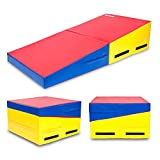 Matladin 58'x29'x14' Folding Gymnastics Cheese Wedge Incline Mat, Gym Fitness Tumbling Skill Shape Mat for Kids Girls Home Training Exercise (Red+Yellow+Blue 58'x29'x14')