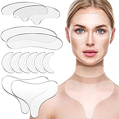 12 Pieces Reusable Silicone Chest Pads Patch Silicone Neck Pad Forehead Pad Set Cleavage Pad Eye Pad for Women Girls from Satinior