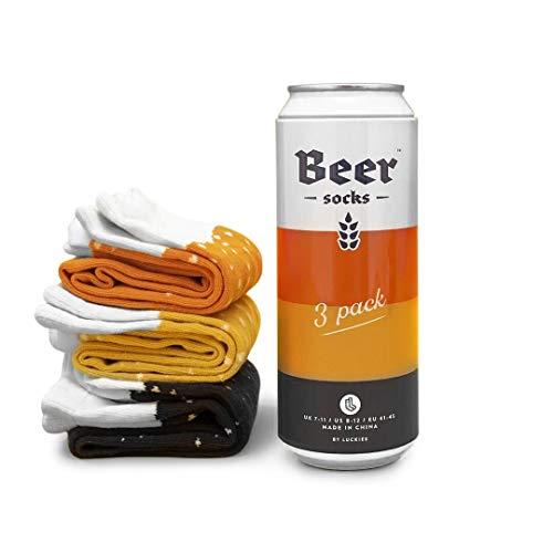 Luckies of London Calcetines de cerveza para hombre, calcetines divertidos para hombres, 3 pares de calcetines Crazy en lata de cerveza, naranja Ale, Stout y Langer