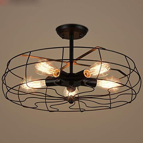 Vintage Retro Edison plafondlamp voor eetkamer, woonkamer, slaapkamer, studio, plafondlamp, hanglamp, lamp van metaal, rond, plafondventilator max. 60 W.