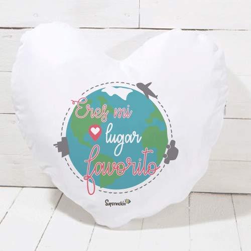 SUPERMOLON Cojín corazón Eres mi Lugar Favorito - Regalo San Valentín, Enamorados, Aniversario, Amor - Cojín Forma de corazón 40x40 cm