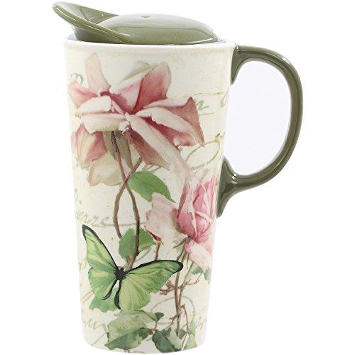 CEDAR HOME Coffee Ceramic Mug Porcelain Latte Tea Cup With Lid in Gift Box 17ounce. Pink Floribunda Flower