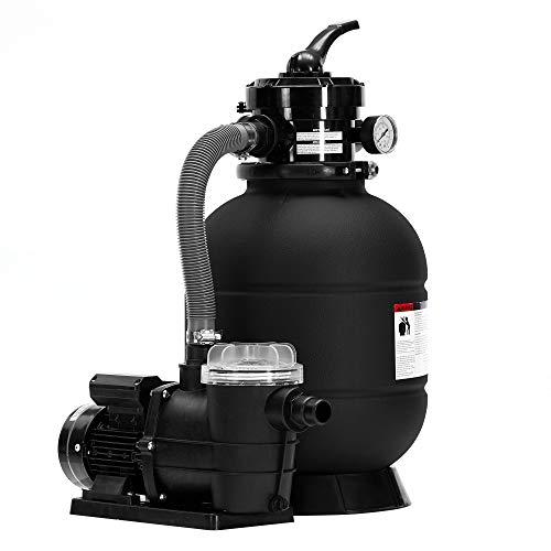 AREBOS Sandfilteranlage mit Pumpe | 400W | 10.200 L/h | Tankvolumen bis zu 20 kg Sand | 4 - Wege Ventil mit Griff | mit Druckmanometer | Schwarz