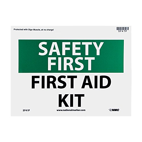 NMC SF41P OSHA Sign, 'SAFETY FIRST FIRST AID KIT', 10' Width x 7' Height, Pressure Sensitive Vinyl, Green/Black on White