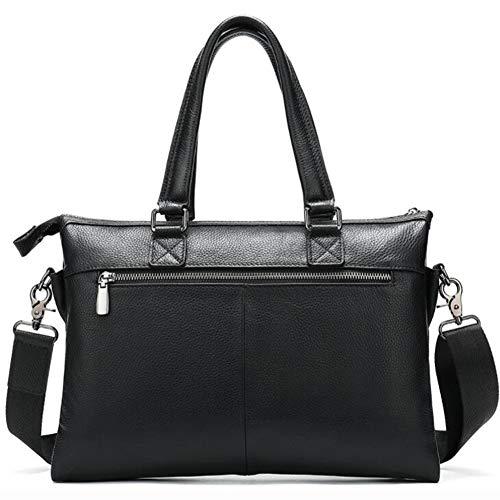 Getrichar New Simple Business Men's Handbag Leather Large Capacity Soft Leather Office Bag Leather Shoulder Messenger Bag (Color : Black, Size : 34 * 25cm)