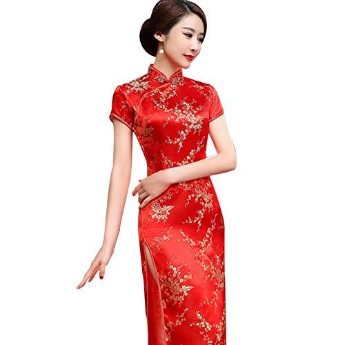 Kalaokei Cheongsam-Kleid, traditionelles Pflaumenblüten-Design, für Damen, chinesisches langes Cheongsam-Abendkleid, rot, S