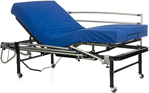 Ferlex - Cama articulada eléctrica geriátrica hospitalaria con Patas Regulables y Ruedas con Frenos | Colchón Sanitario viscoelástico | Barandillas abatibles (90x190)