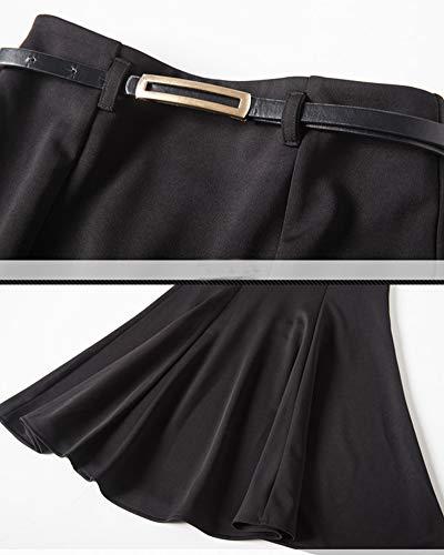PengGengA Mujer Larga Falda Tubo Lapiz Cintura Alta Elastica Disfraz Sirena Negro 2XL