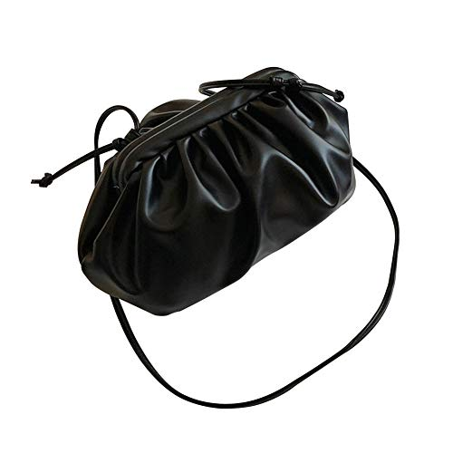 Lanmei Knödeltasche 1pc Frauen Crossbody Office Cloud Form Täglicher Einkauf Messenger Handtaschen Travel hion Dating Casual PU Leder Schultergurt(Schwarz)