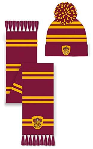 Harry Potter Unisex Gryffindor Hat & Scarf Winter-Zubehör-Set, rot, Einheitsgröße