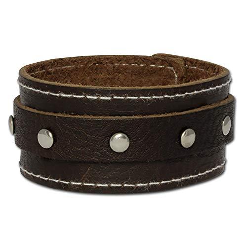 SilberDream Lederarmband braun mit Ziernaht und Stahlverschluss für Herren oder Damen Leder Armband Echtleder LA3265B