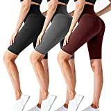CTHH 3 Pack Workout Biker Shorts for Women-High Waisted Running Athletic Shorts for Women Yoga Gym Womens Shorts (3Pack-D(Black,Grey,Wine), Large-X-Large)