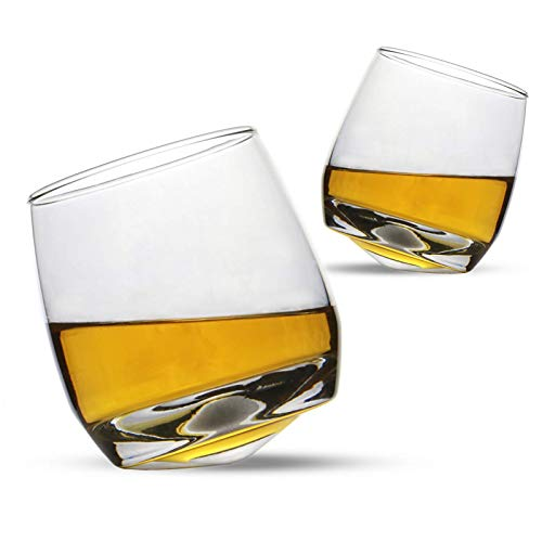 Set of 2 Rocking Whiskey Glasses | Swirling Whisky Tumblers | Perfect Bar Gift Set | Liquor, Whiskey, Bourbon or Scotch | Whiskey Gift Set | M&W