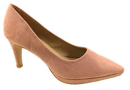 Zapatos de tacón bajo de gamuza sintética para mujer, con plantilla de piel, talla 32 a 38, color Rosa, talla 39 EU