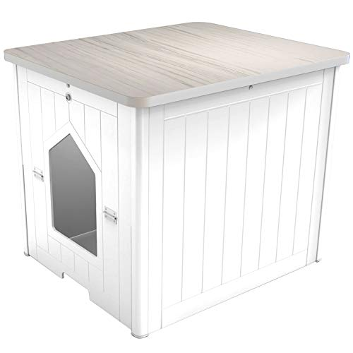 Palram CATSHIRE Covered Litter Box for Cats, Litter Box Furniture, Kitty House with Table, Hidden...