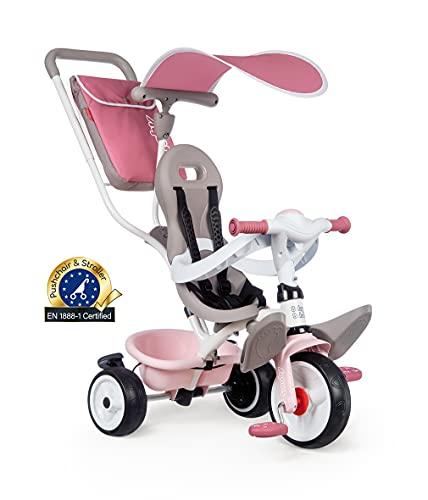 Smoby - Tricycle Baby Balade Plus Rose - Vélo Evolutif Enfant Dès 10 Mois - Roues Silencieuses - Frein de Parking - 741401