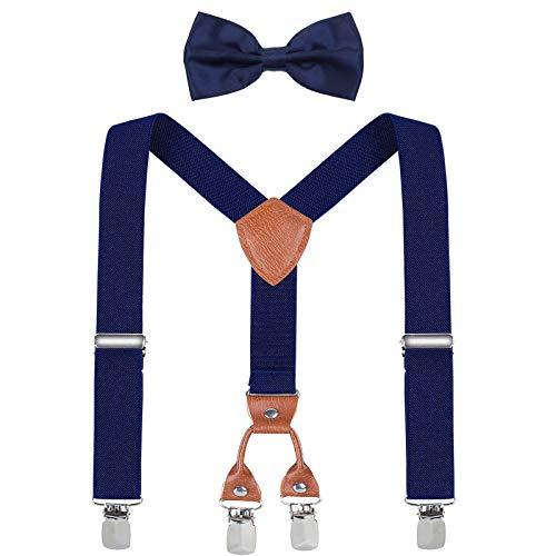 WELROG Kinder Hosenträger und Fliege Set für Jungen, Mädchen und Baby Geburtstags fotografie (3 Größen) (Navy blau + Navy blau Fliege)