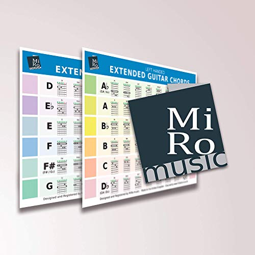 Left Handed Extended Guitar Double Sided Chord card, 96 chords A5
